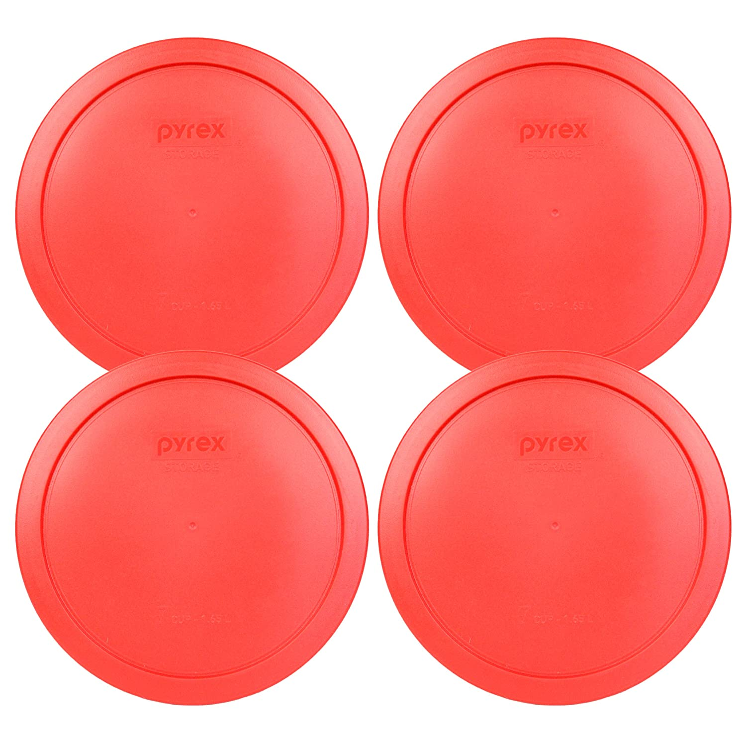 "Pyrex 7402-PC Red Round Storage Replacement Lid Cover fits 6 & 7 Cup 7"" Dia. Round (4-Pack)"