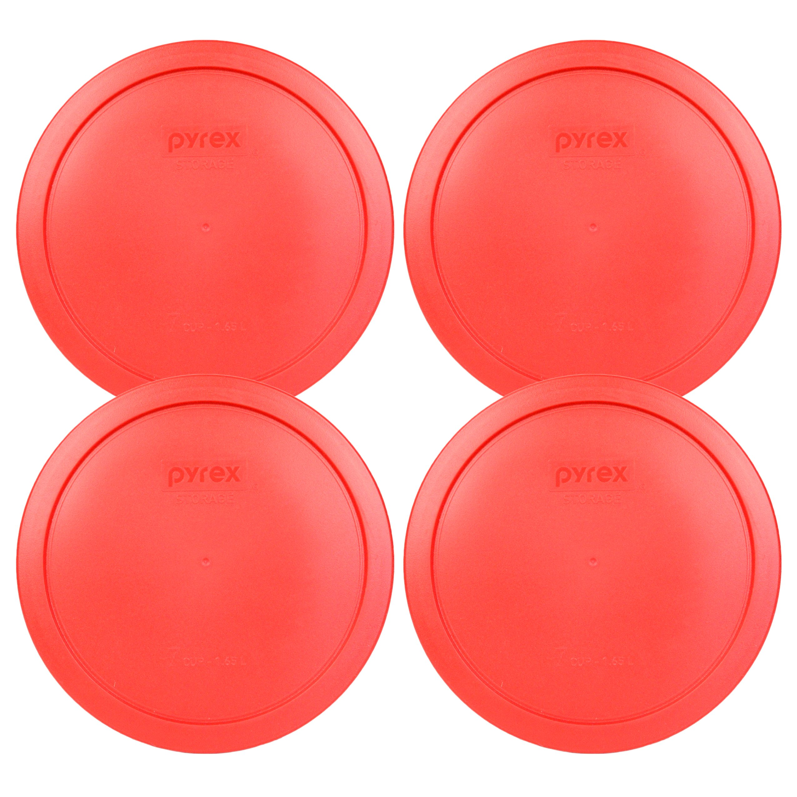 Pyrex 7402-PC Red Round Storage Replacement Lid Cover fits 6 & 7 Cup 7'' Dia. Round (4-Pack) by Pyrex