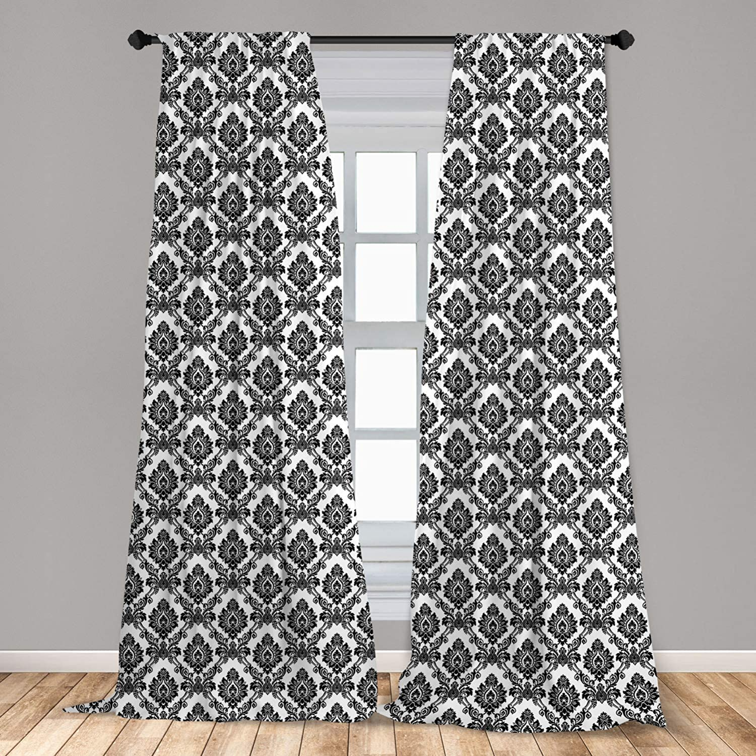 "Lunarable Damask 2 Panel Curtain Set, Antique Classic Damask Flowers Pattern Traditional Artwork Design Monochrome, Lightweight Window Treatment Living Room Bedroom Decor, 56"" x 63"", White Black"