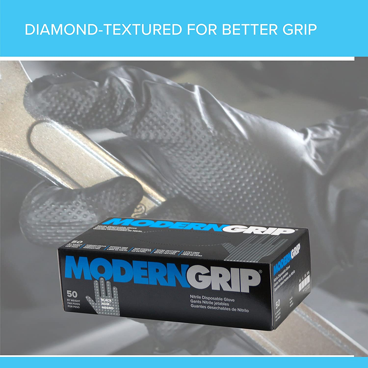 Modern Grip 18195-M Nitrile 8 mil Thickness Premium Disposable Heavy Duty Gloves - Industrial and Household, Powder Free, Latex Free, Diamond Textured for ...