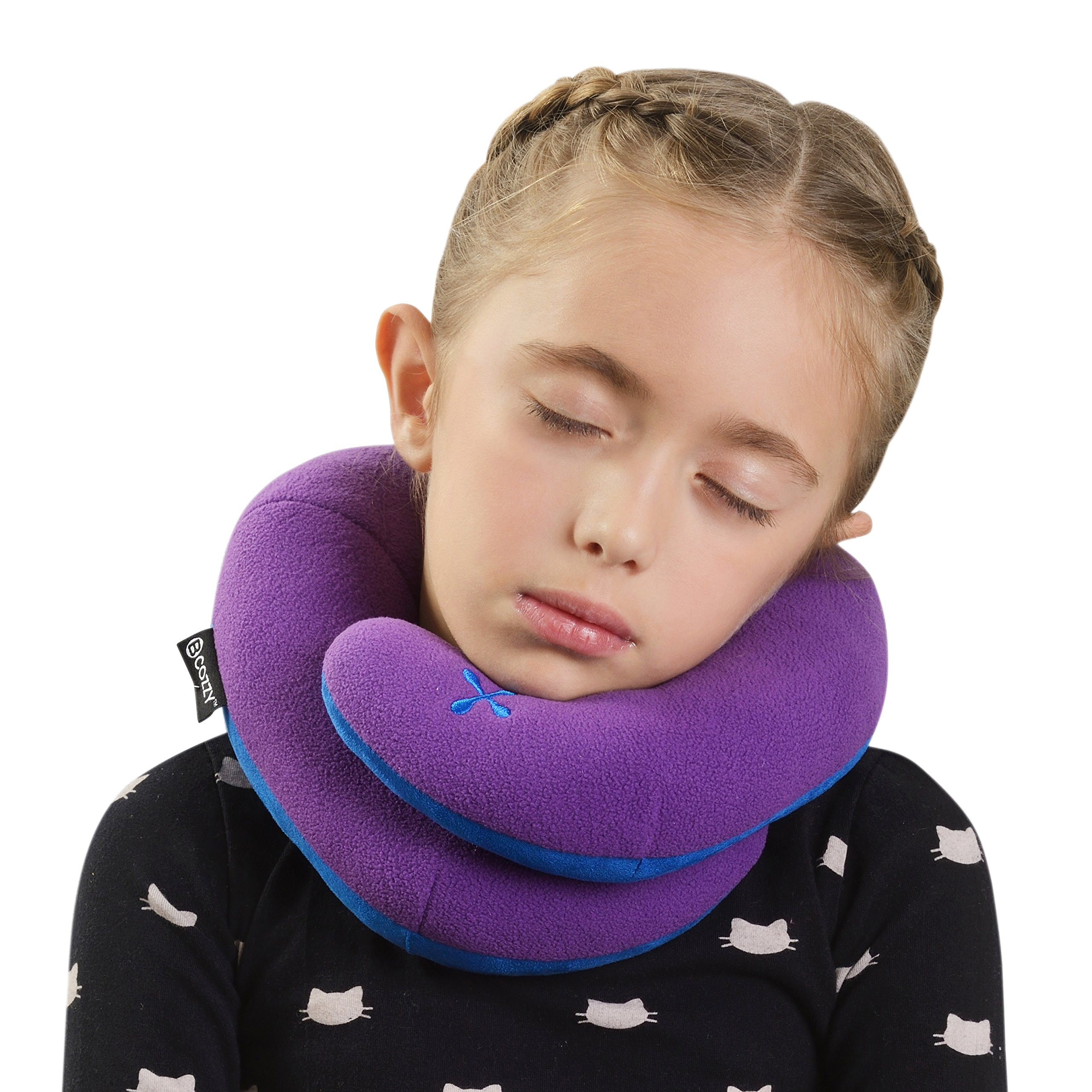 BCOZZY Kids Chin Supporting Travel Neck Pillow - Supports the Head, Neck and Chin in A Patented Product. CHILD Size, PURPLE