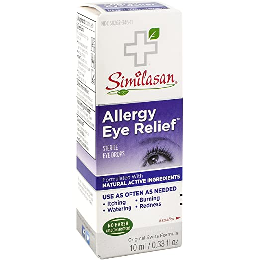 Similasan Allergy Eye Relief Eye Drops 0.33 Ounce Bottle, for Temporary Relief from Red Eyes, Itchy Eyes, Burning Eyes, and Watery Eyes Best Natural Allergy Remedies