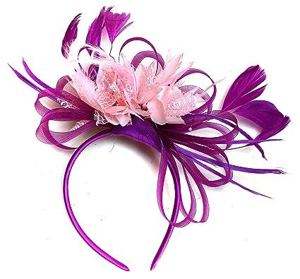 f71854f099e83 Plum Magenta and Baby Pink Feather Hair Fascinator Headband Wedding ...