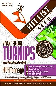 Hit List Seed Vivant Hybrid Turnip Brassica Turnip/Rape Hybrid Fall Food Plot Seed for Deer
