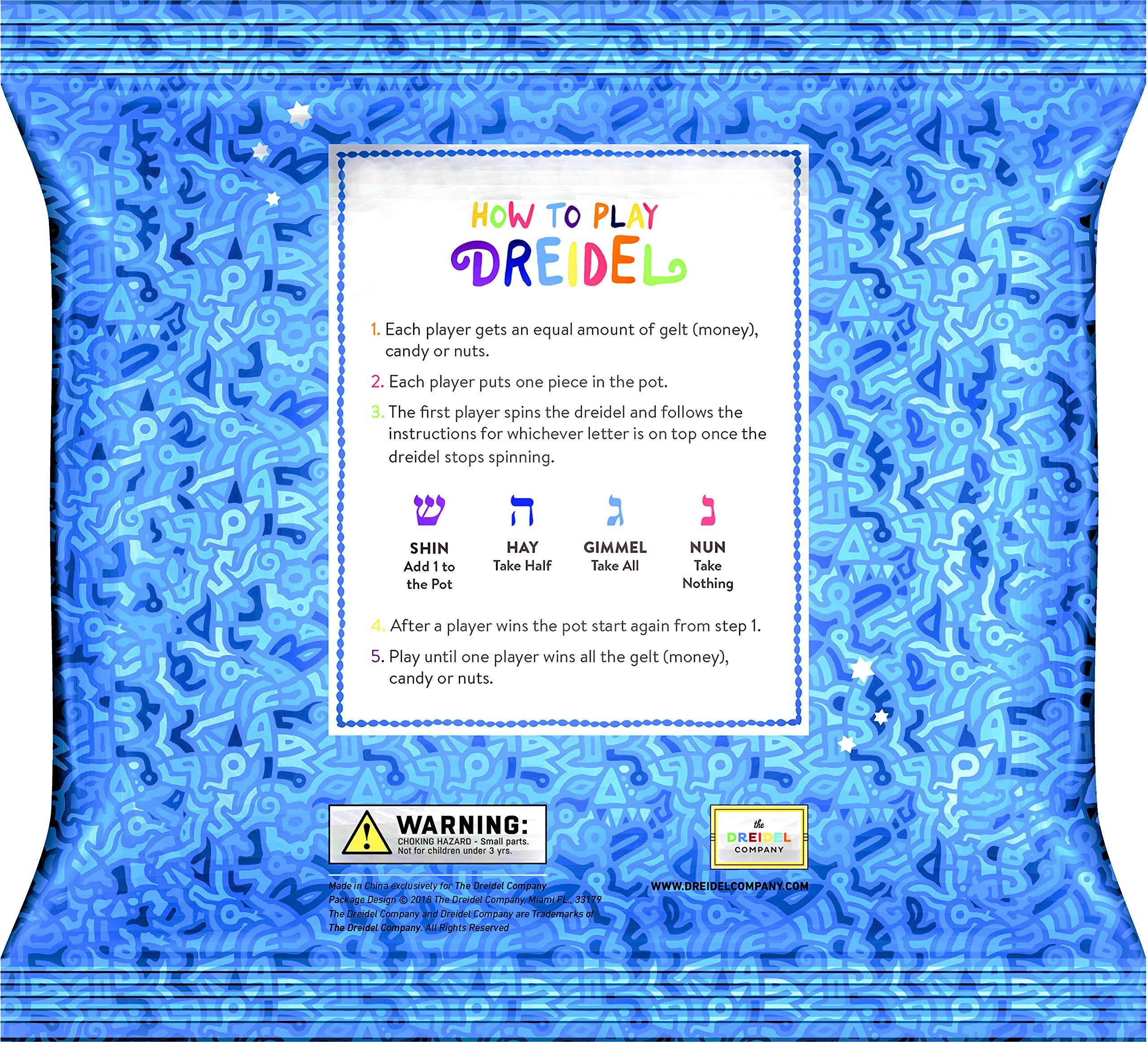 Hanukkah Dreidel Extra Large Wooden Dreidels Hand Painted - Includes Game Instruction Cards! (10-Pack XL Dreidels) by The Dreidel Company (Image #4)