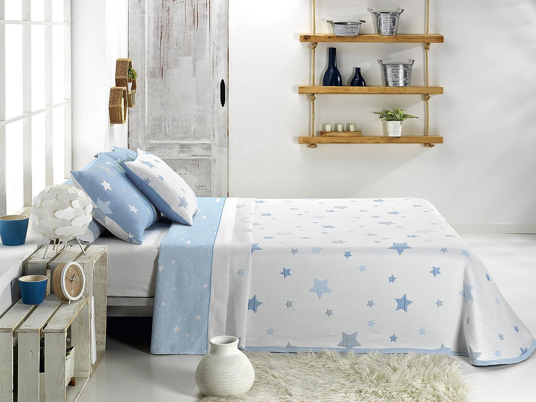Sedalinne Colcha bouti Reversible KALO CA Coj/ín Decorativo Reversible 50x50 cm Azul