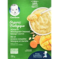 GERBER Organic Wheat & Wholegrain Oat Mango Carrot Baby Cereal 6 x 208g Box (Pack of 6)