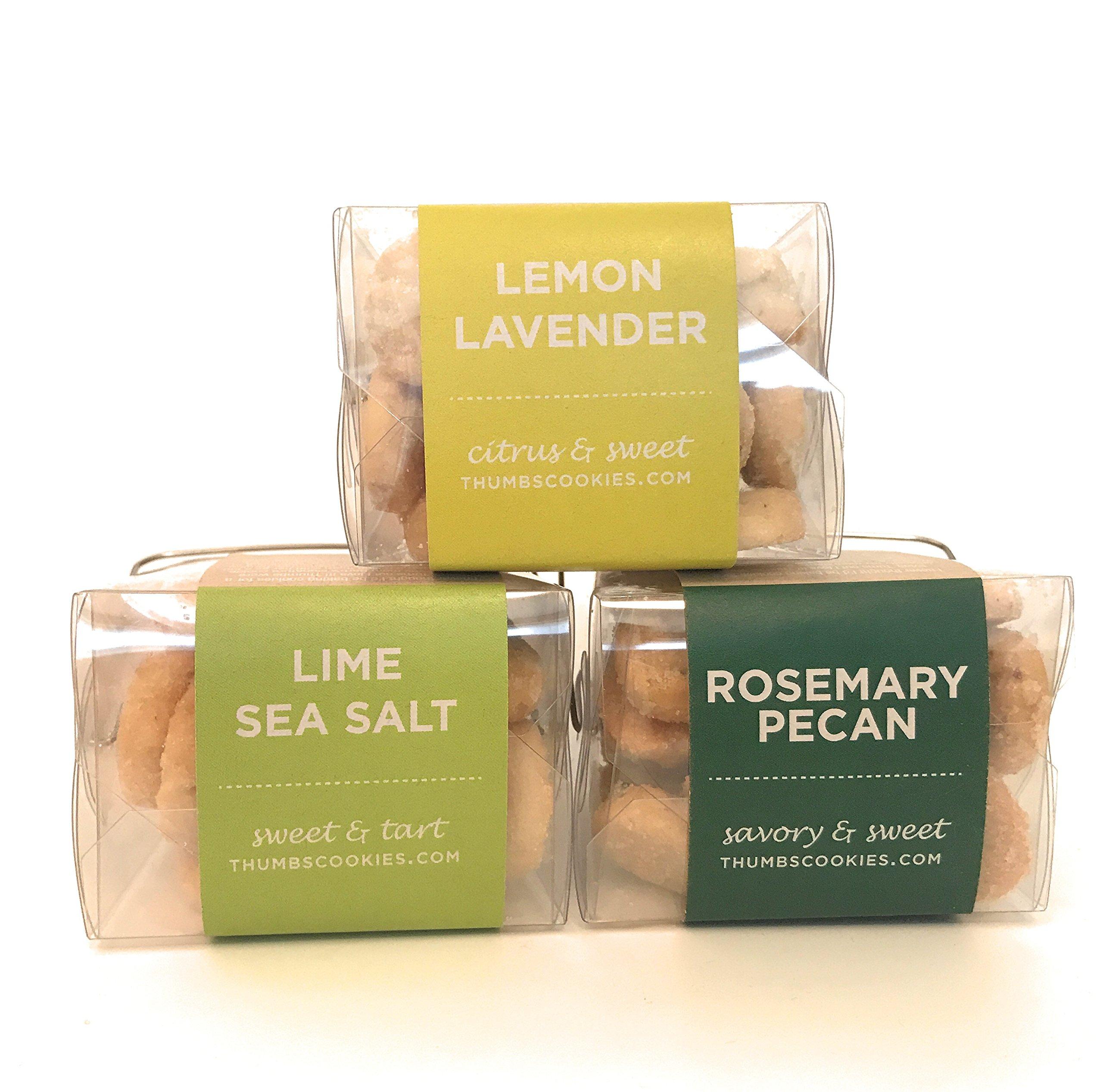 Thumbs Cookies Variety Pack of Fresh Baked Cookies in 3 Boxes - Rosemary Pecan, Lime Sea Salt, Lemon Lavendar - 1 lb. Cookie Gift Box