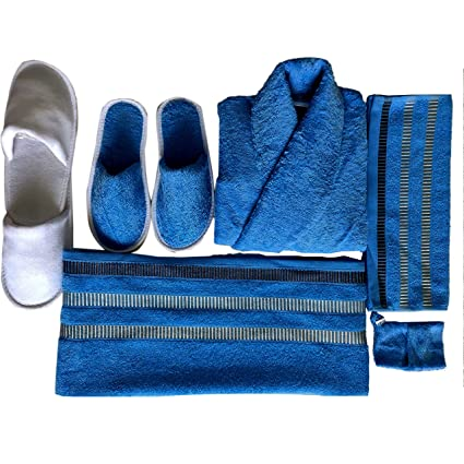 da505e460fb Buy KOYOKA Rock Daniel Men s Cotton Luxury Bathrobe Set (Royal Blue ...