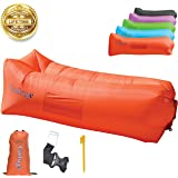 Gaduge Outdoor Inflatable Lounger & Pool Chair, Hangout Sofa & Inflatable Couch for Bedroom, Floats on Water - Includes Pockets, Comfy Headrest, Bottle Opener, Stake & Bag