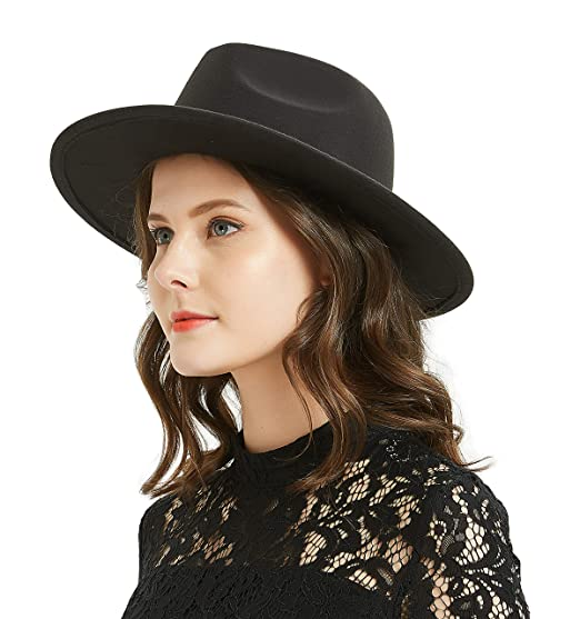 21686f2445e682 Image Unavailable. Image not available for. Color: Women or Men Woolen Felt  Fedora Vintage Short Brim Crushable Jazz Hat