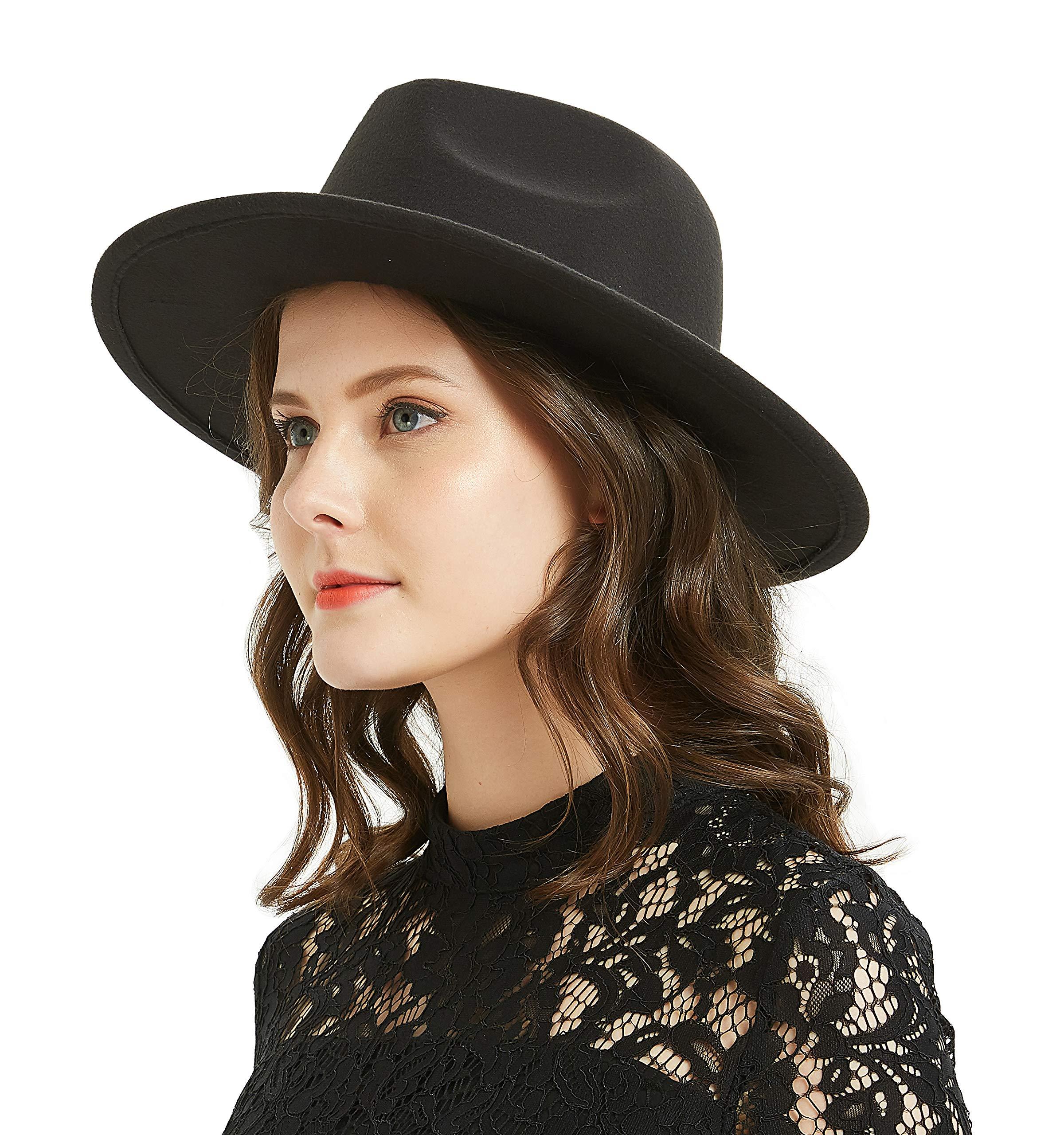 Women or Men Woolen Felt Fedora Vintage Short Brim Crushable Jazz Hat, Black 58-60cm