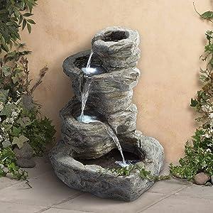 John Timberland Rock Cascade Zen Outdoor Floor Water Fountain with Light LED 22