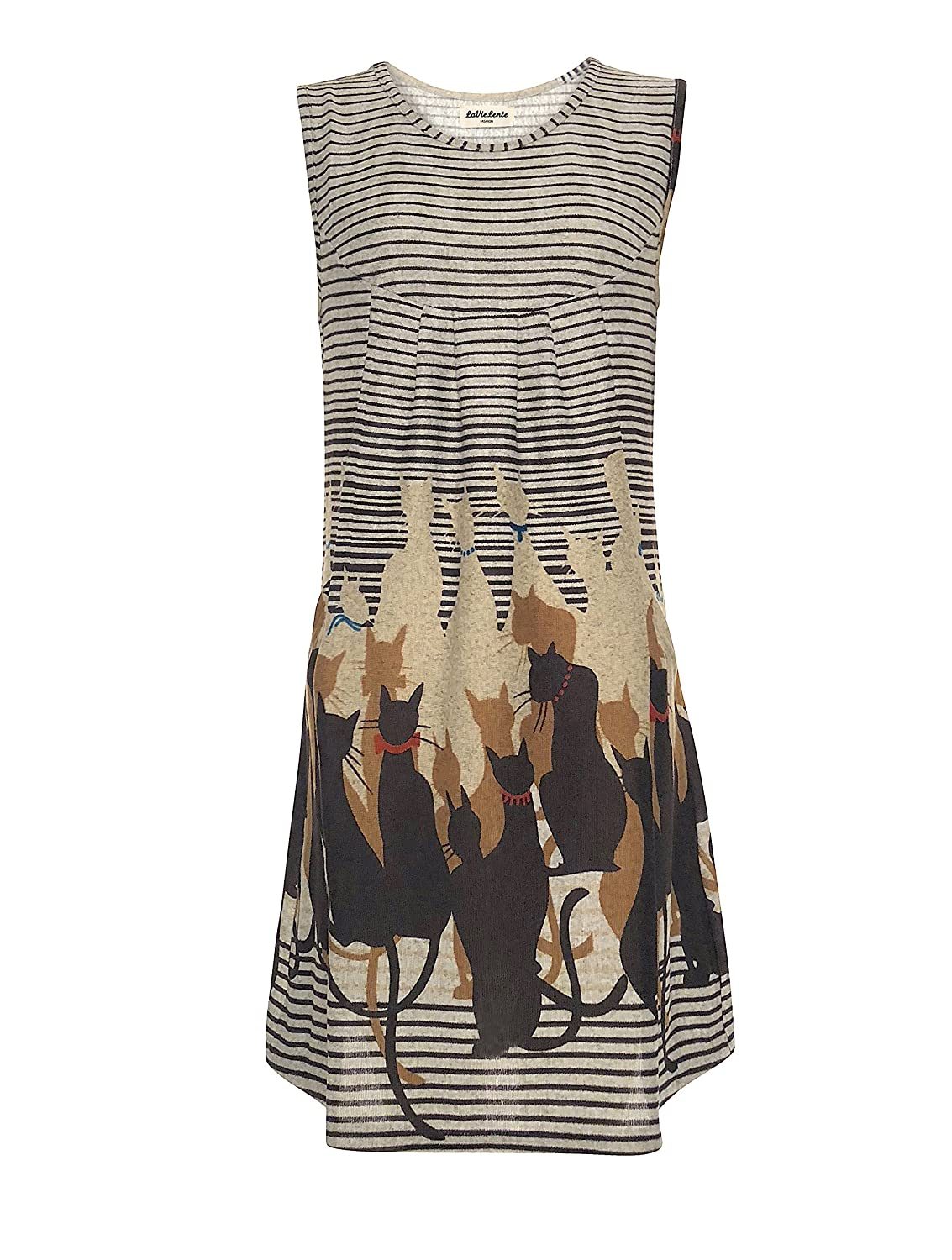 Multi LaVieLente Ultra Soft Sleeveless Jersey Knit cat Placement Print Shift Dress with Pockets