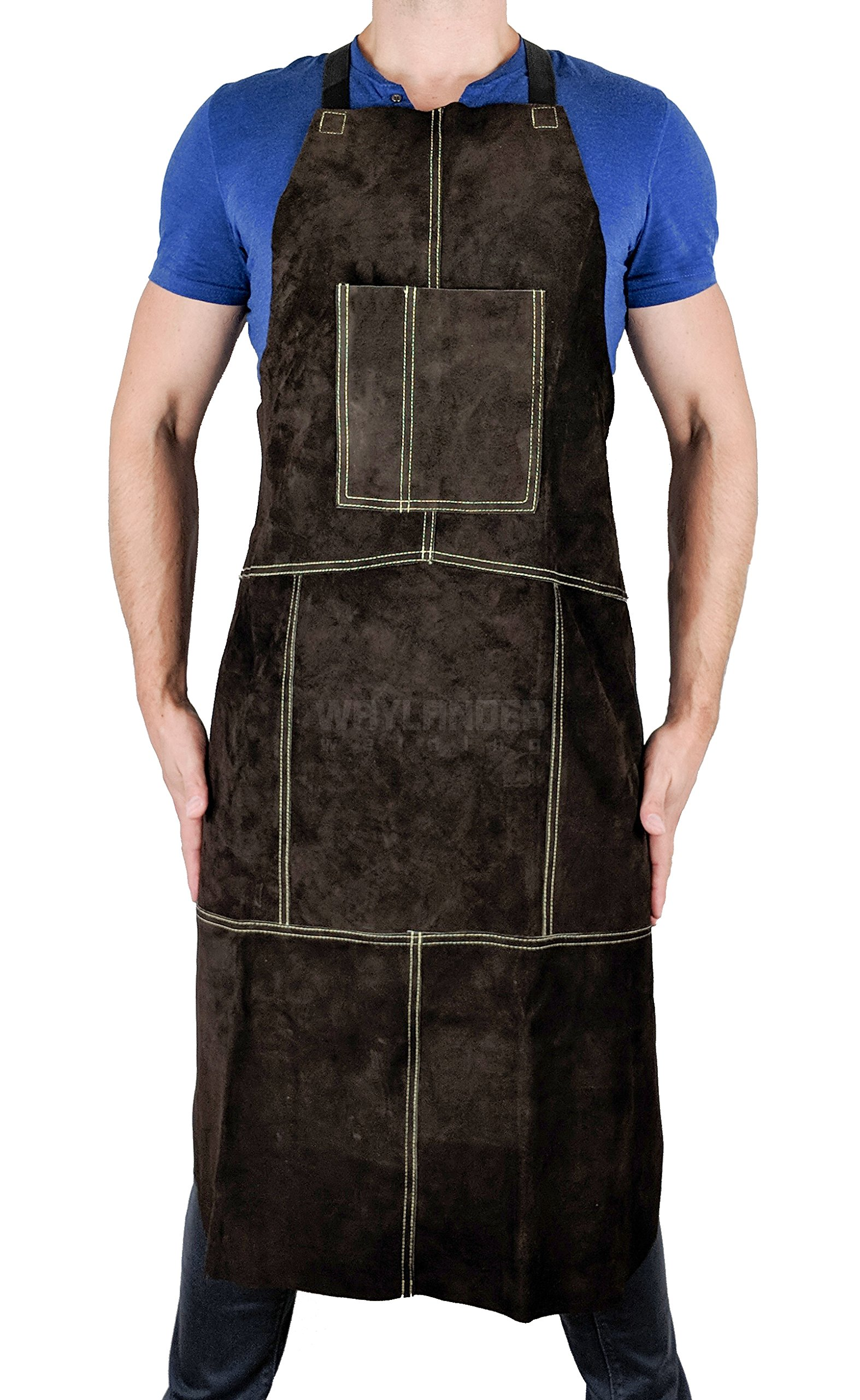 Waylander Leather Welding Apron Flame Resistant Heavy Duty Bib 40'' Dark Brown with Adjustable Crossed Back Straps and Pocket