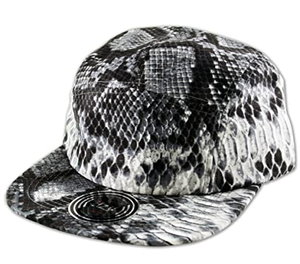 Itzu CO Snakeskin Print 5 PANEL CAP Adjustable Snapback Baseball Hat GREY 0368ffdc73a