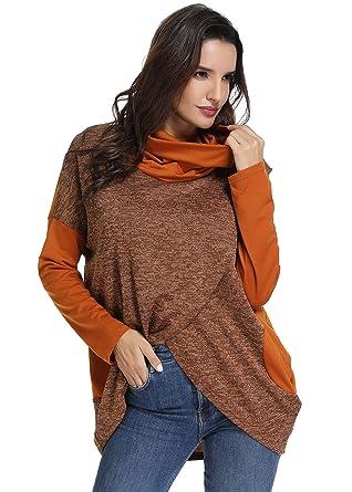 6054a7853d8 YEVITA Women Long Sleeve Turtleneck Sweater Tunic Blouse Tops Tshirt  (Khaki, M)