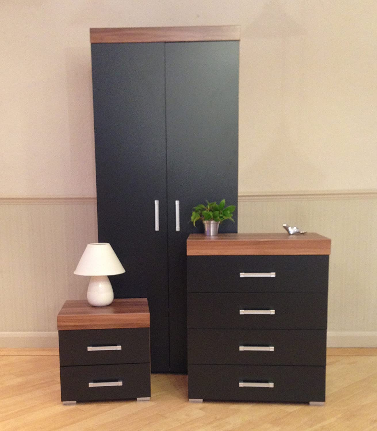 DRP Trading Bedroom Furniture Set *Black & Walnut* Wardrobe, 4 Drawer Chest & 2 Draw Bedside Cabinet