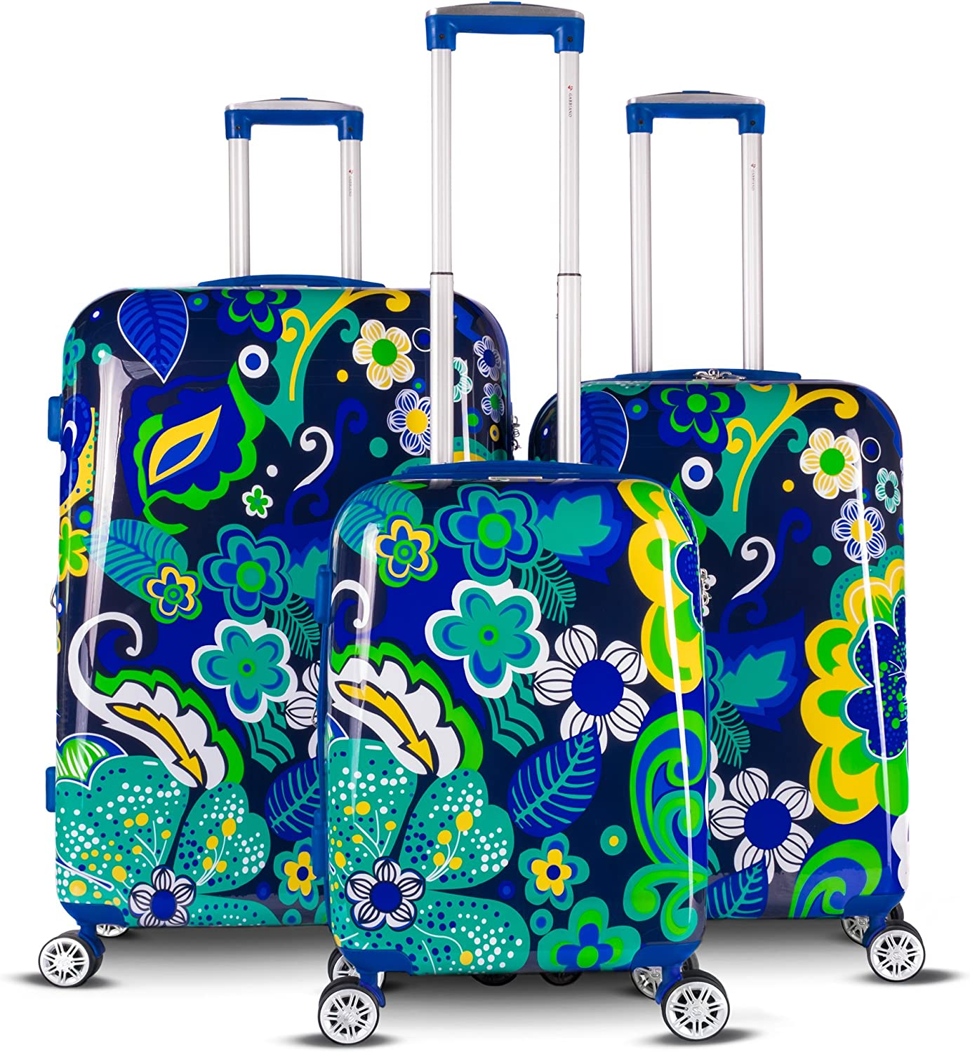 The Floral Collection 3 Piece Expandable Hardside Luggage Set Navy Floral