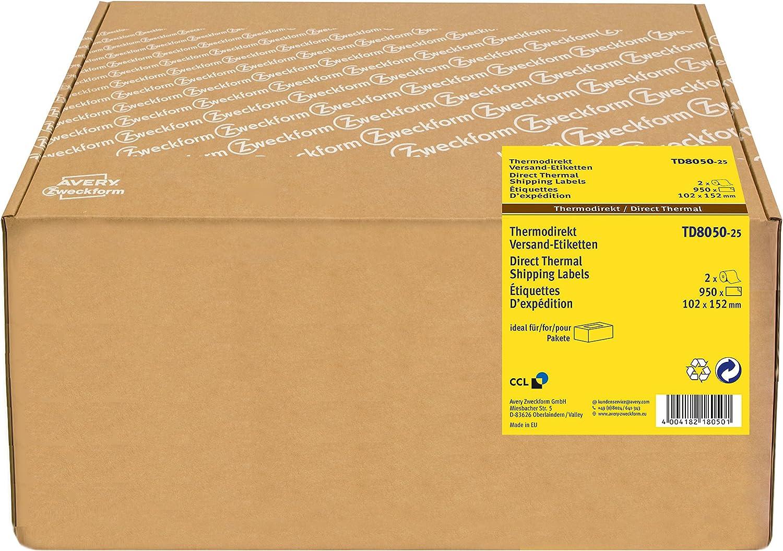 Avery España TD8050-25 - Etiquetas en rollo para impresión térmica, 102 x 152 mm, color blanco: Amazon.es: Oficina y papelería