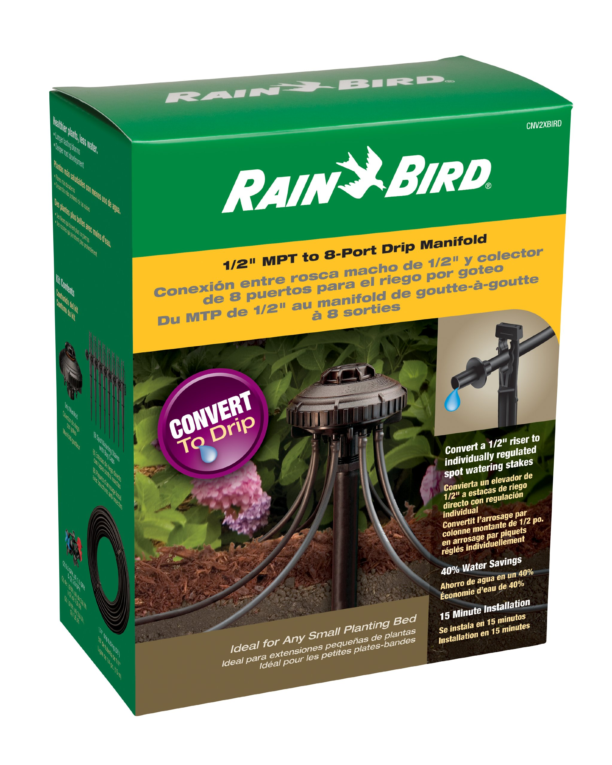 Rain Bird CNV2XBIRD Drip Irrigation Conversion Kit, 1/2'' Riser to 8 Port Drip Manifold with 8 Emitters and 1/4'' Tubing