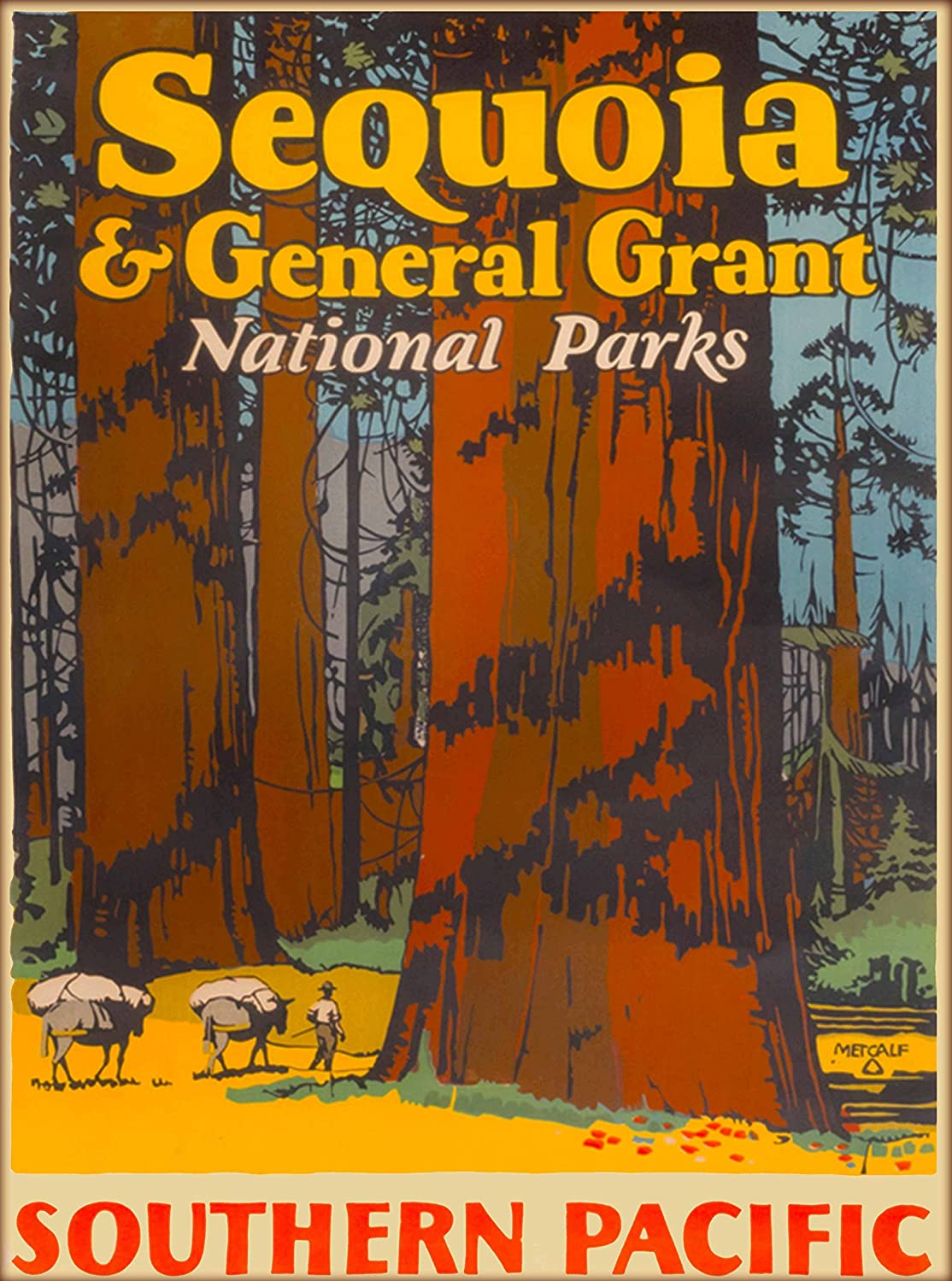 A SLICE IN TIME Sequoia & General Grant National Parks California Southern Pacific Vintage Railroad United States of America Travel Advertisement Art Poster Print. Measures 10 x 13.5 inches