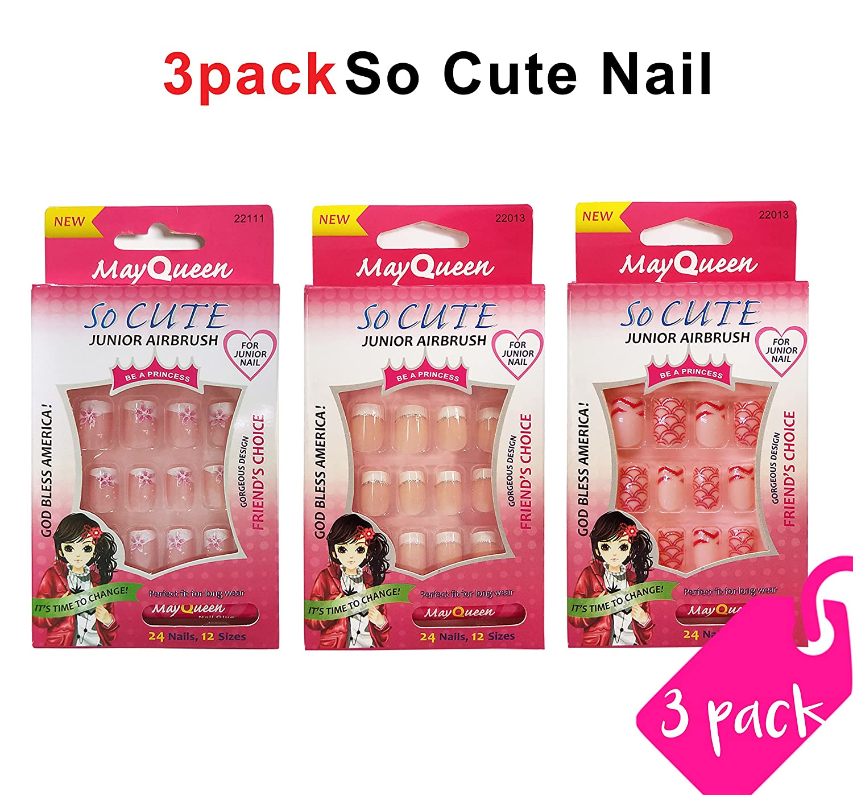 Beautia 3pack So Cute Artificial False Junior Nail with Glue (22114/22013/22111)