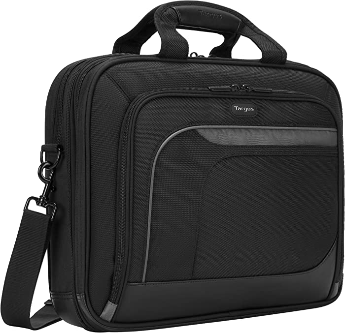 Targus Mobile Elite Business Topload Checkpoint-Friendly Briefcase with Soft-Lined Tablet Pocket, Organized File Section, Trolley Strap, Suspended Protection for 15.4-Inch Laptop, Black (TBT045US)