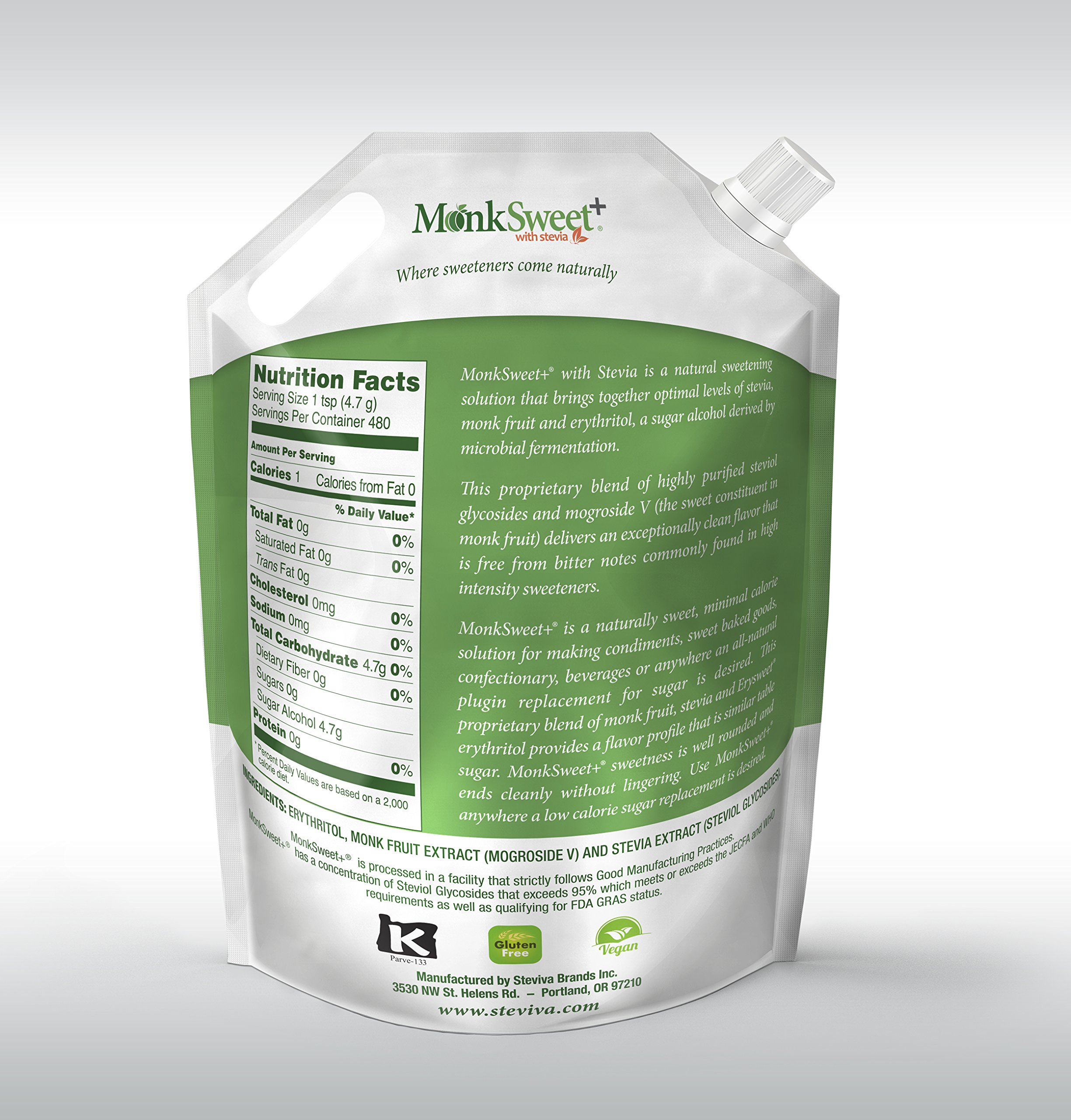 MonkSweet Plus - 5 lb bag - Monk Fruit, Stevia & Erythritol Blend NonGMO Low Carb Sweetener