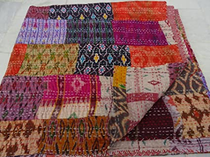 Tribal Asian Textiles Vintage Quilt Old Patola Indian Silk Sari Kantha  Quilted Patchwork Bedspread Bohemian Kantha Throws, Gudari Handmade
