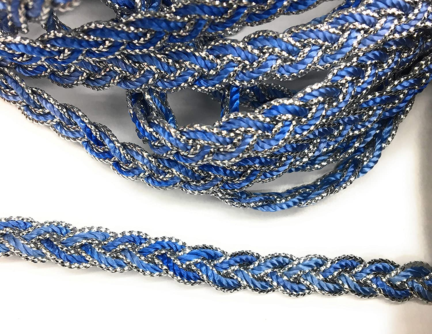 Trimmings 5 Yards 6mm Dress Trimming Silver Navy Braided Cord Braid Scallop Braid 3//8 Dress Trims Upholstery Trims