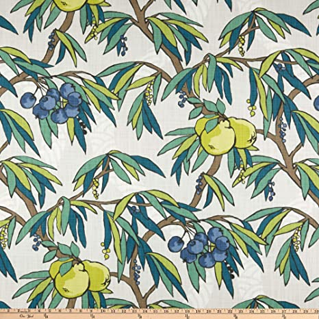 100 /% Cotton fabric ~ Lt yellow peacocks ~ BTY red Green with pink