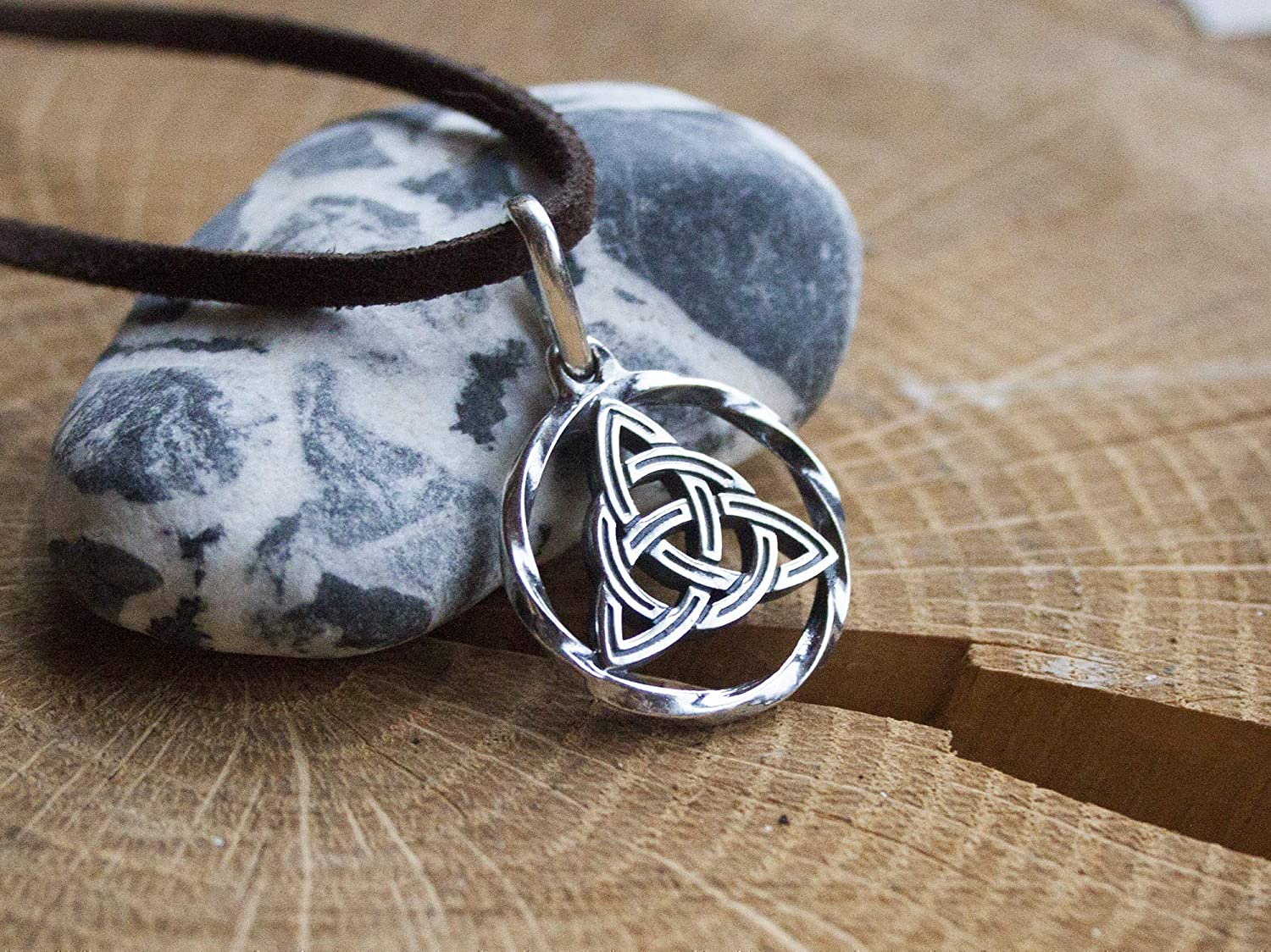 Hand embossed Celtic knot trinity knot pendant aluminum metal jewelry statement necklace embossing unique gift Triquetra Ireland meaningful