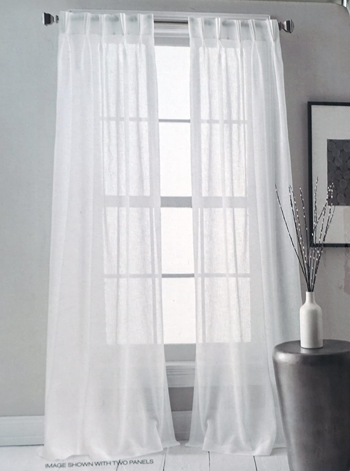28 Inches by 84 Inches Downtown Sheer DKNY Pair of Window Pinch Pleat Panels Curtains Drapery Set of 2 Solid White