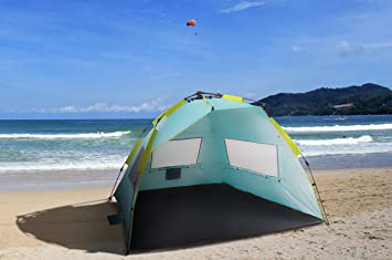 ALPHA CAMP Beach Tent Easy Up 2 Person Sun Shelter - 8.5u0027 x 4.5u0027 & Amazon.com: ALPHA CAMP Beach Tent Easy Up 2 Person Sun Shelter ...