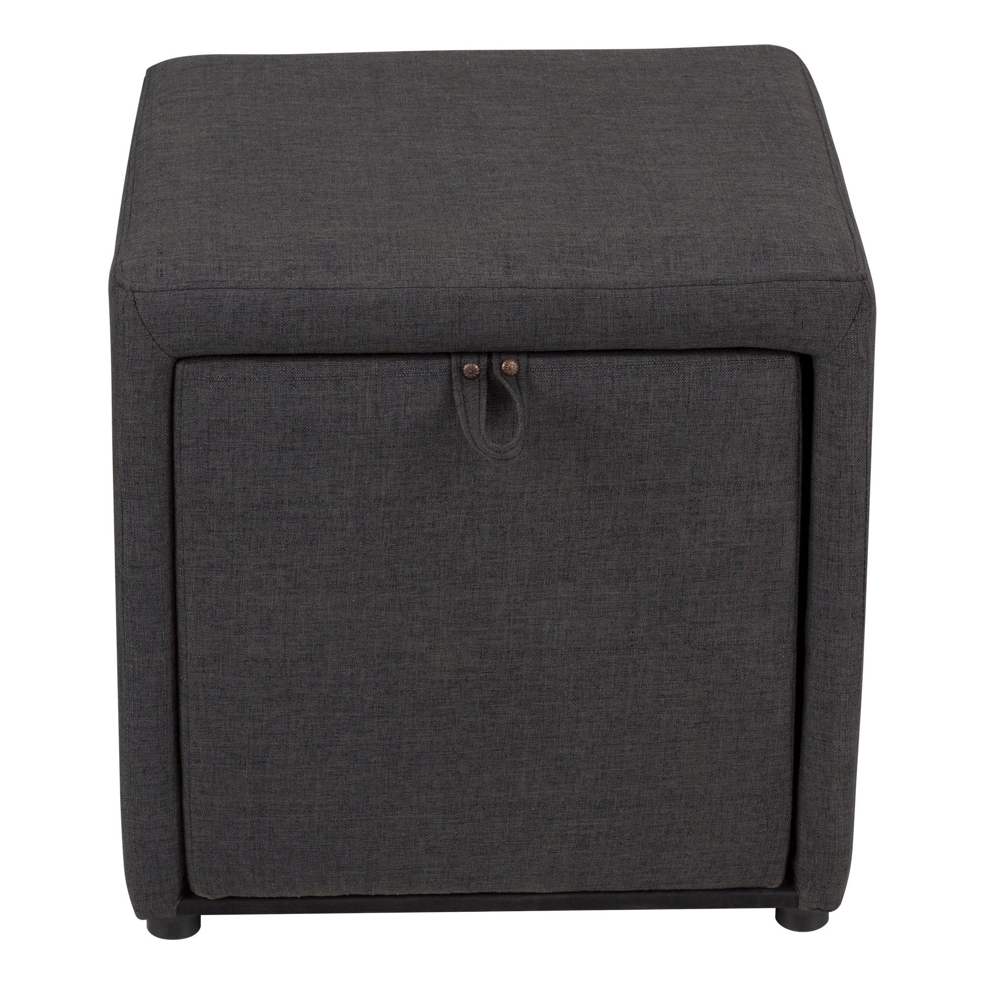 Fat Catalog Cube Storage Stool w/Drawer, Gray, ALT-OUG1001-SO by Fat Catalog (Image #4)