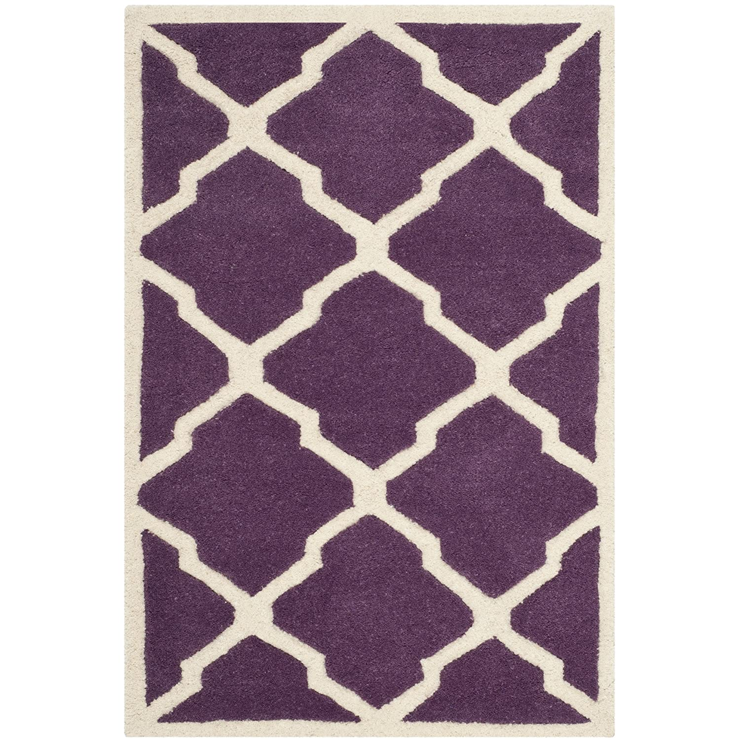 Safavieh Chatham Collection CHT735F Handmade Purple and Ivory Wool Area Rug, 2 feet by 3 feet (2' x 3') CHT735F-2