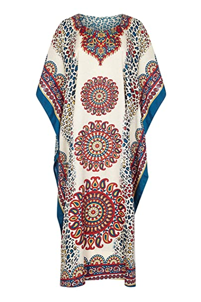 c5eacd70fa MI Impressions Women's Plus Size Long Caftan Mandala Animal Print Maxi  Dress Cover-up (Ivory-Red-Teal) at Amazon Women's Clothing store: