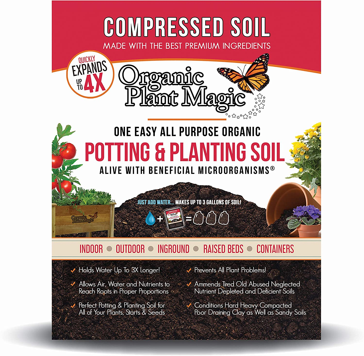 Compressed Organic Potting-Soil for Raised Beds from Organic Plant Magic