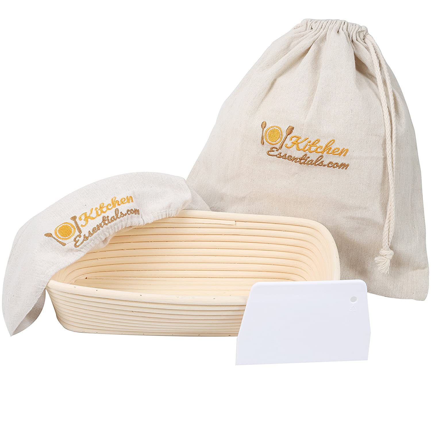 4-in-1 Oval Bread Proofing Basket Set - 12 inch Banneton Proofing Basket + Liner + Scraper + Linen Bag - Rectangle Brotform Proofer Bowl for Artisan Bread, Sourdough, Loaves & Others 101KitchenEssentials