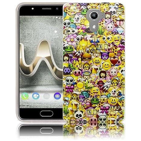 Compatible para Wiko U Feel Prime Emoji SonreírSonreíry Funda protectora de silicona Funda protectora suave Funda