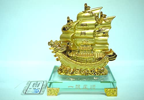 The Golden Ship of Wealth Feng Shui With Glass Base