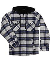 Burnside Men's Ritz Plaid Flannel Sherpa Hooded Jacket