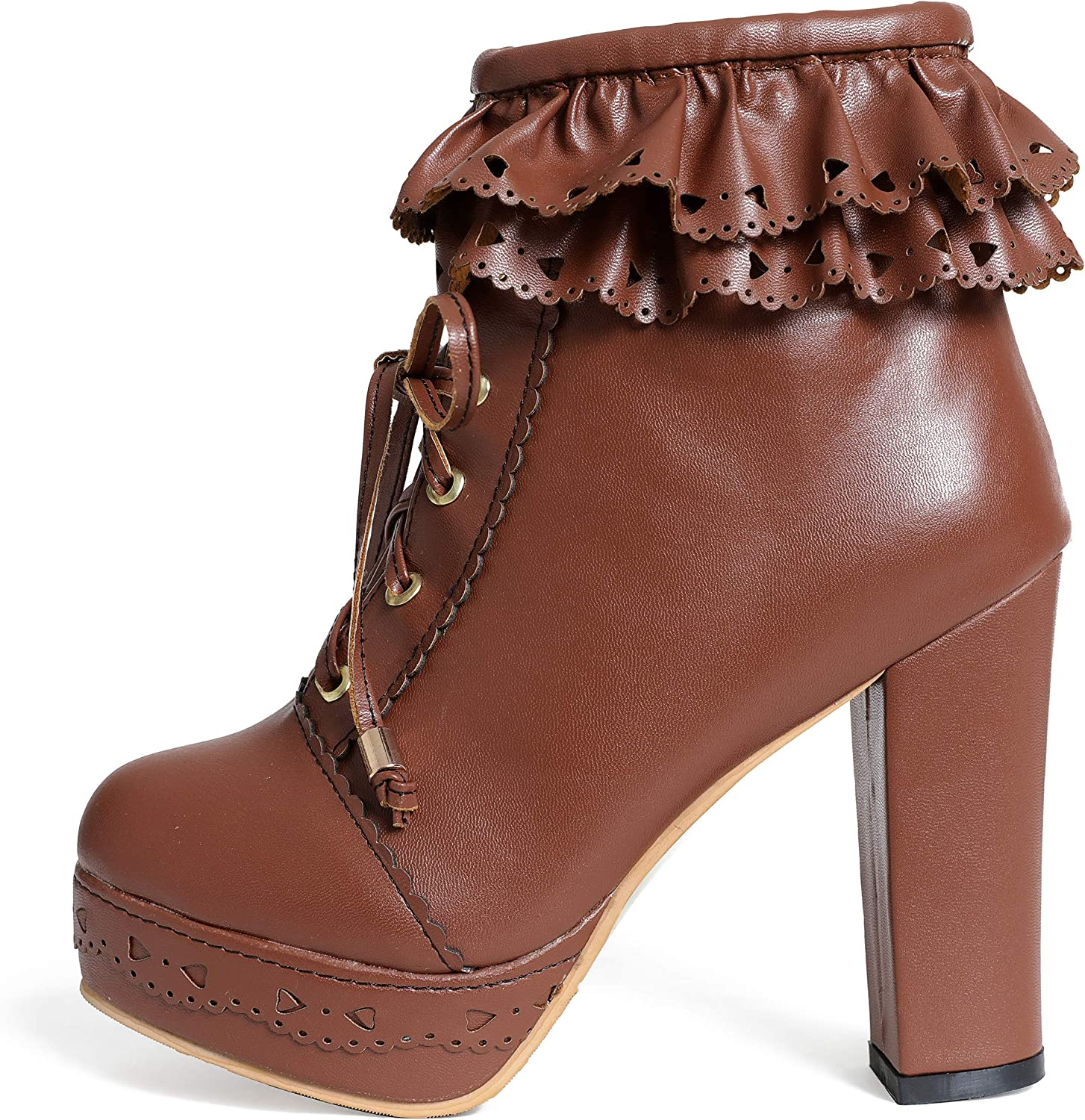 Susanny Womens Office Party Sweet Lolita Platform Chunky High Heel PU Lace up Ankle Boots