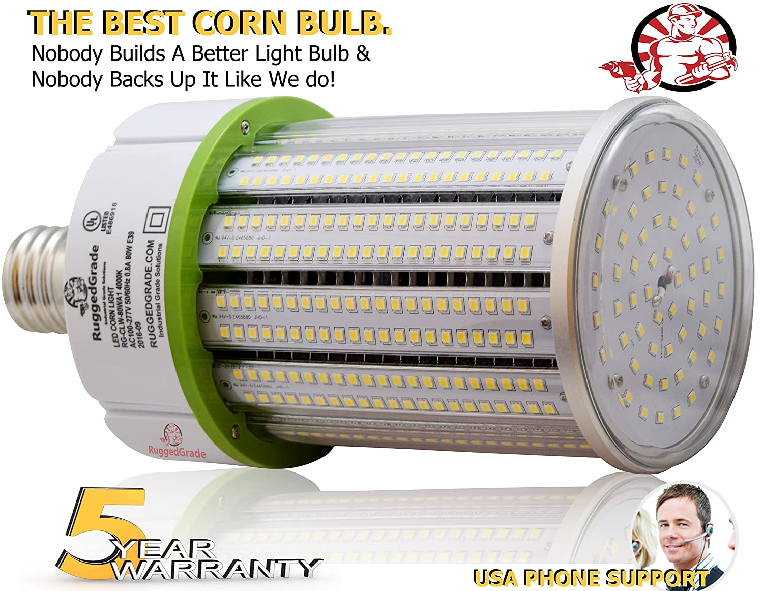 100 Watt E39 LED Bulb 14,422 Lumens 4000K -Replacement for Fixtures HID//HPS//Metal Halide or CFL 360 Degree Lighting High Efficiency 125 Lumen//watt LED Corn Light Bulb