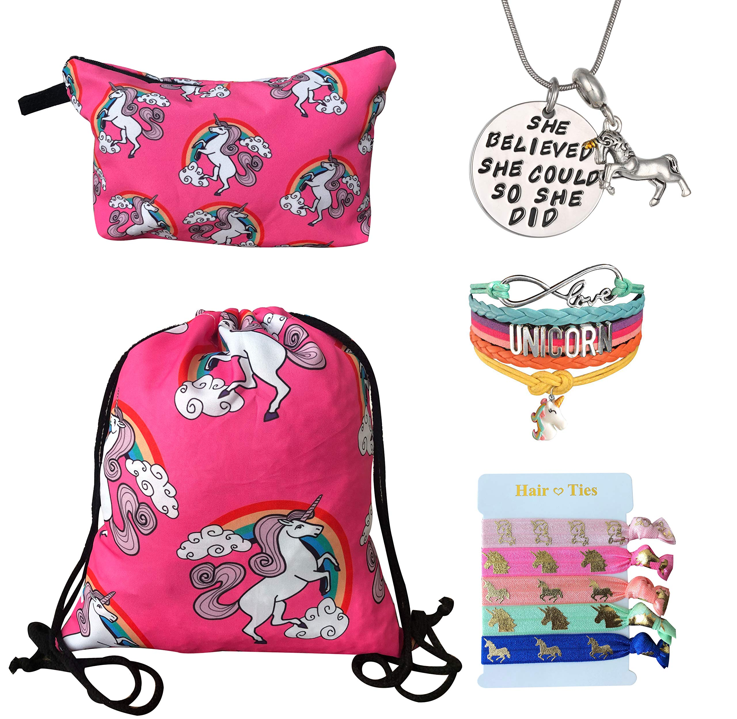 Unicorn Gifts for Girls 5 Pack - Unicorn Drawstring Backpack/Makeup Bag/Bracelet/Inspirational Necklace/Hair Ties (Pink Cute Unicorns)