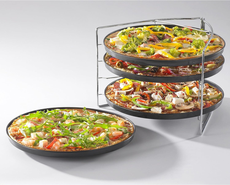 Grizzly Juego de bandejas para pizza de 4 unidades y 1 x Rejilla porta platos - Antiadherente: Amazon.es: Hogar
