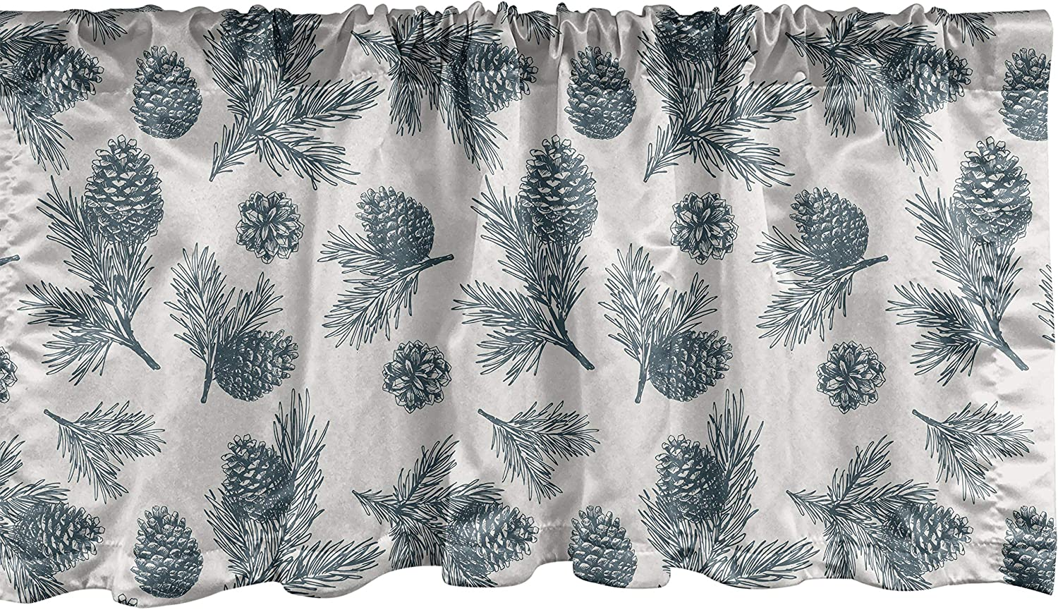 Lunarable Pine Cone Window Valance, Winter Themed Botanical Pattern and Needles Branches Print, Curtain Valance for Kitchen Bedroom Decor with Rod Pocket, 54