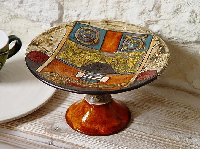 Amazoncom Handmade Pottery Fruit Bowl Ceramic Footed Bowl Unique