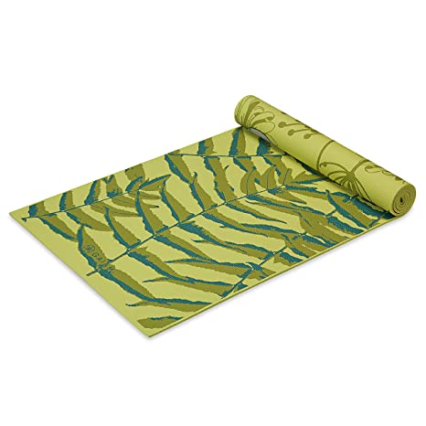 Gaiam Yoga Mat Premium Print Reversible Extra Thick Non Slip Exercise & Fitness Mat for All Types of Yoga, Pilates & Floor Exercises, Floral Fern, 6mm